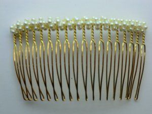Charles J. Wahba - Medium wire Side Comb - Pearl beads (Paired) by Aliza Rose Accessories. $16.95