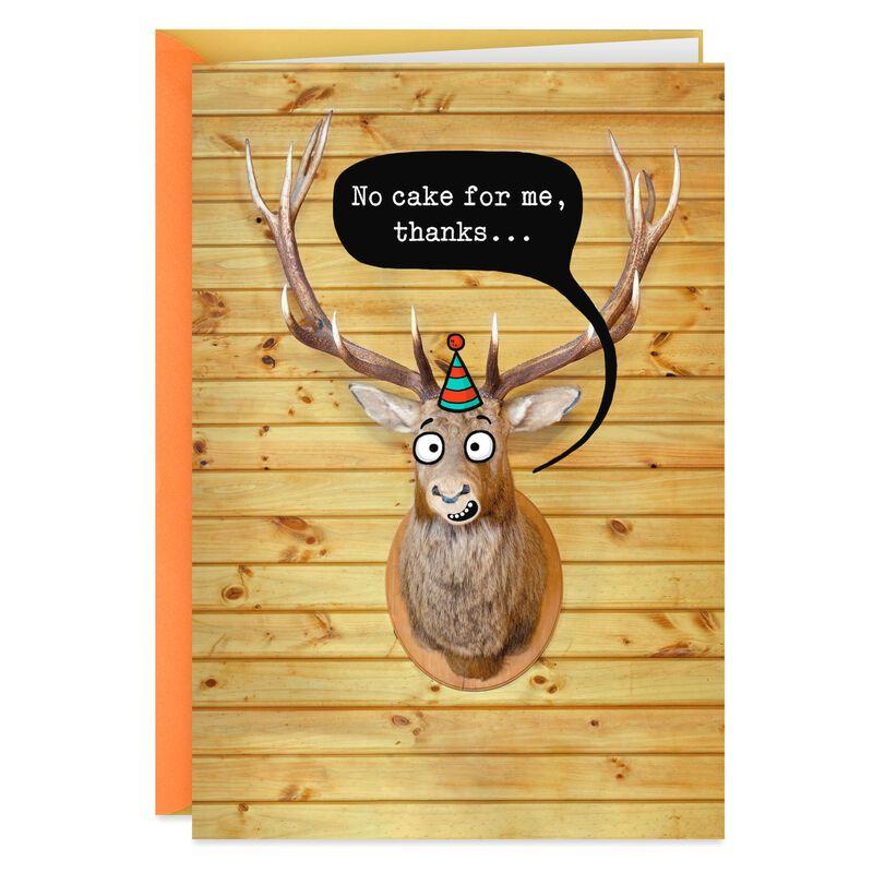 Mounted Deer Head Funny Birthday Card In 2021 Happy Birthday Hunting Funny Birthday Cards Hunting Birthday