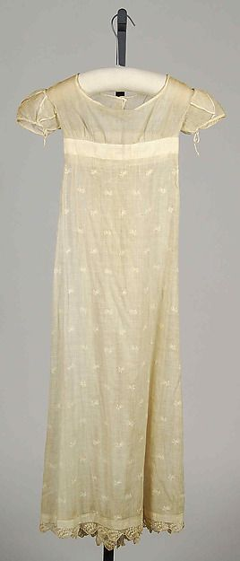 Cotton dress. American, c. 1810. From the Met museum