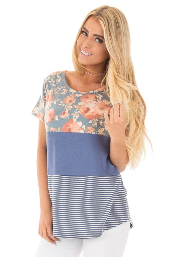 3458eceb9dd22 Slate Blue Knit Color Block Top with Floral Contrast