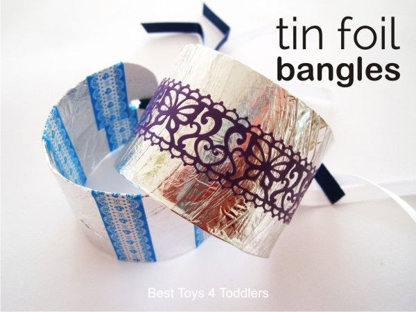 Easy Tin Foil Bangles for pretend play with kids