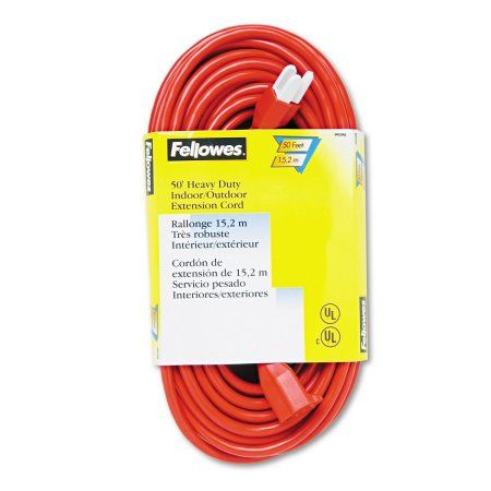 Fellowes Indoor Outdoor Heavy Duty 3 Prong Plug Extension Cord 1 Outlet 50ft Orange Outdoor Extension Cord Extension Cord Cord