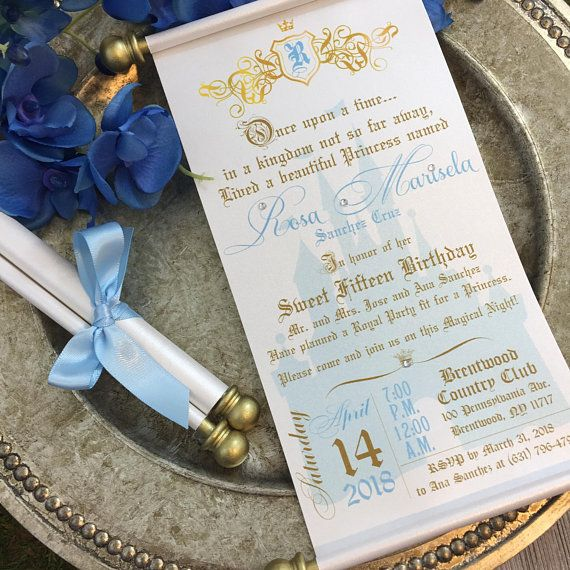 Princess Sweet 16 Scroll Set of 10 Cinderella Wedding Invitation
