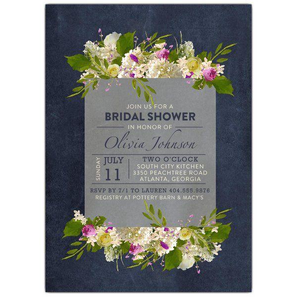 635d8835ec98 Vintage Floral Screen Blue Chalk Bridal Shower Invitations
