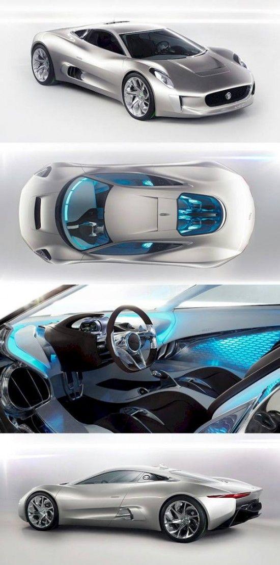 ♂ silver car blue interior A Serious Roar for The Electric Concept Car Jaguar CX75