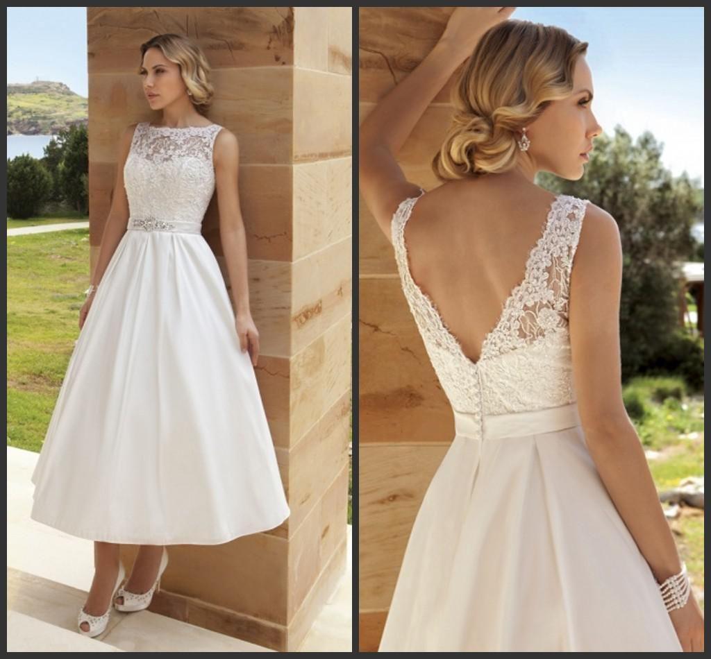 Vintage wedding tea dress   Hot New Wonderful Gorgeours Beach Beads Jewel A Line Ball Gown