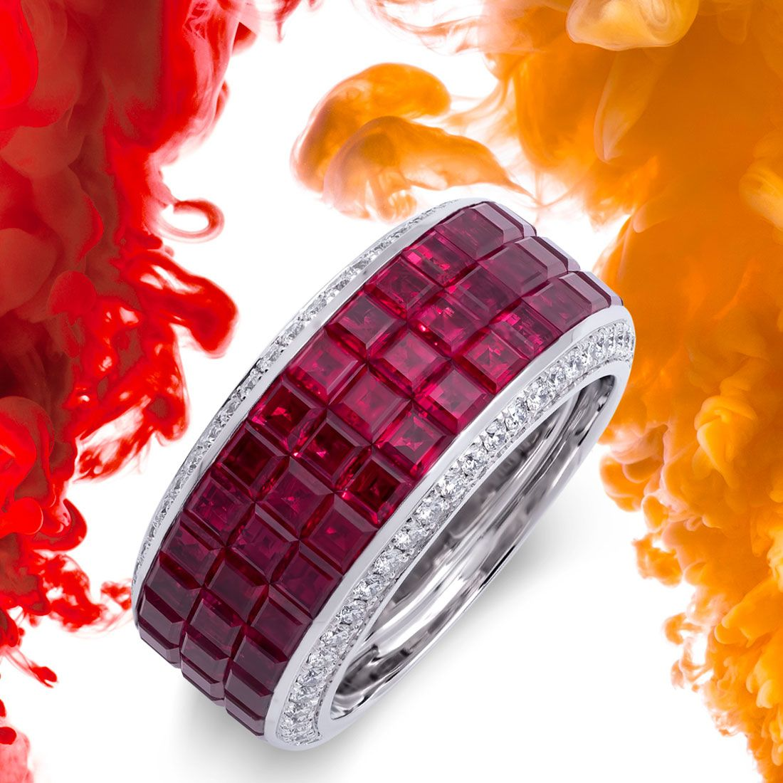 Experience the luxury and opulence with the Classical collection.  Sublime balance of spirit and form. Geometrical and classical shapes make a statement with masterful invisible setting volumes.  . . . . . #rings #cocktailring #invisiblesetting #ruby #rubies #diamondjewelry  #luxuryjewelry #highjewelry #ilovejewelry