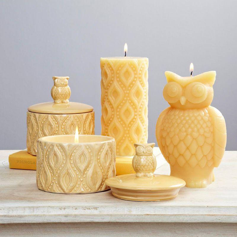 Yellow Owl Pillar Candles In Store Only Art decor diy