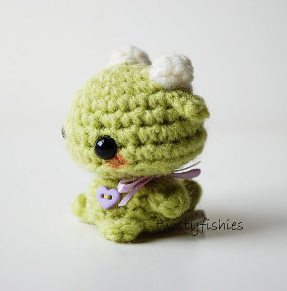 Mini Green Monster Kawaii Amigurumi Plush by twistyfishies