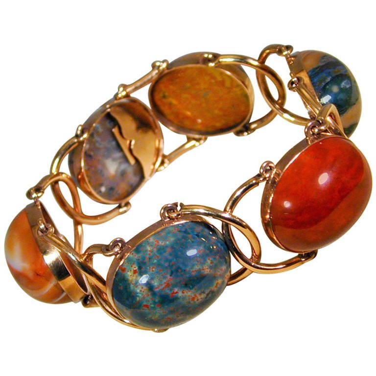 Antique Agate Gold Bracelet   1stdibs.com