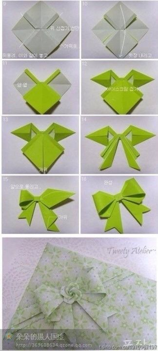 Origami Bow Tutorial Paper Crafts Pinterest Paper Bows