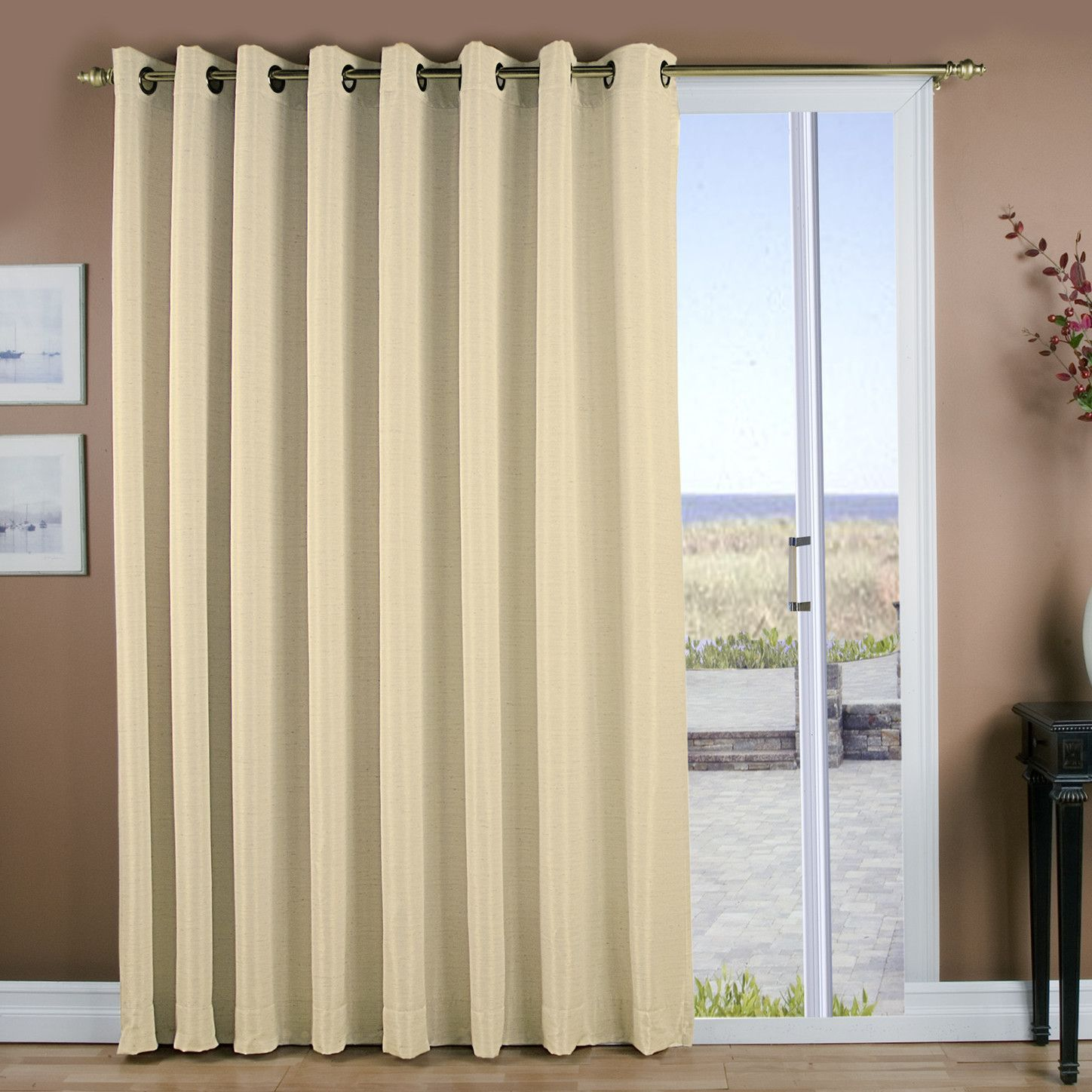 Window covering ideas  grasscloth lined grommet patio single curtain panel  products