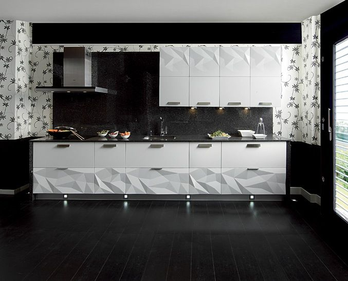 Wow   Love This Contemporary Kitchen! ~Gloss White Kitchen Black  Backsplash: Contemporary Kitchens That Make The Cut