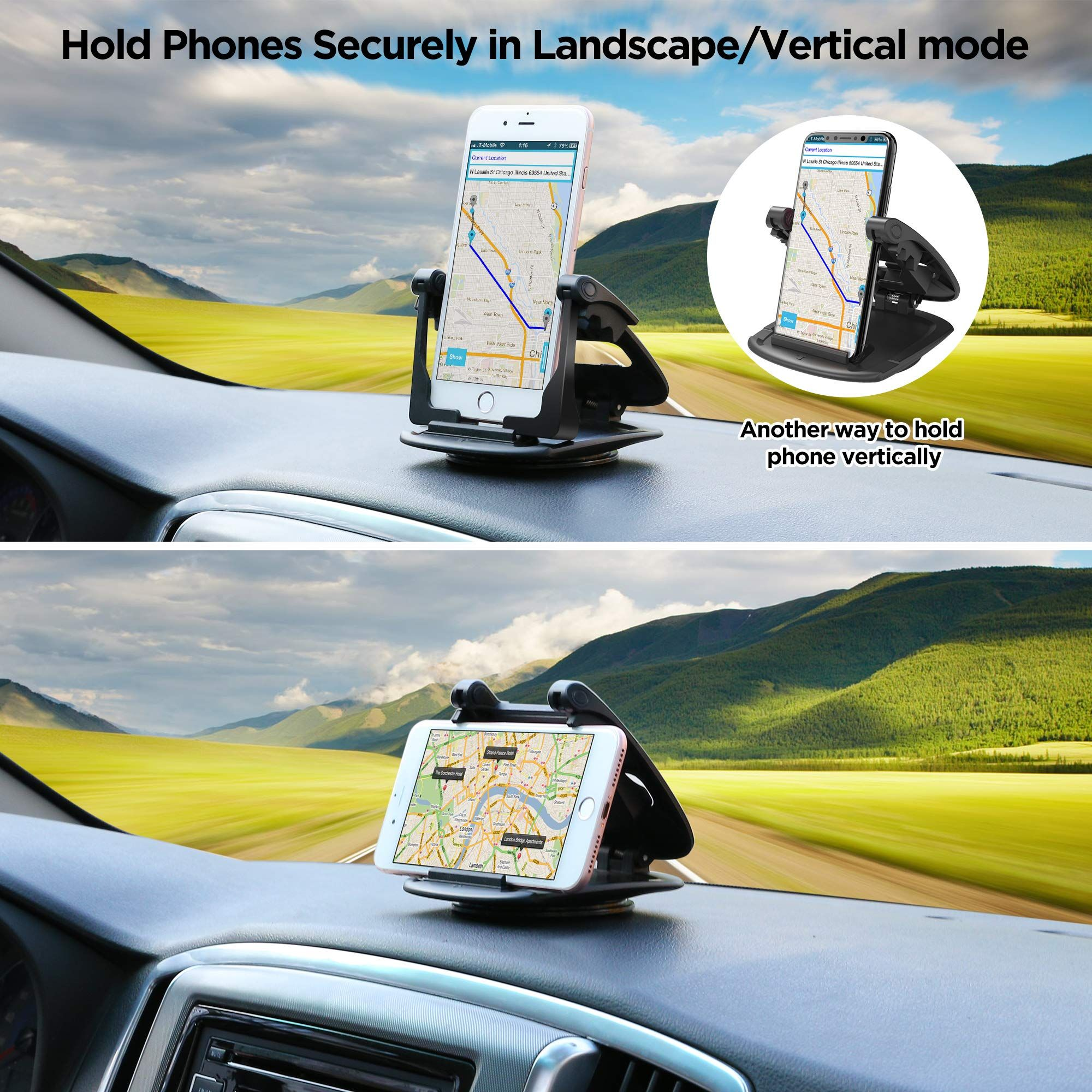 9aeabee0a93eef Iphone Seven · IPOW 360 Degree Rotatable Car Dashboard Phone Mount Hold  Phones Vertically/Horizontally,Car Cell