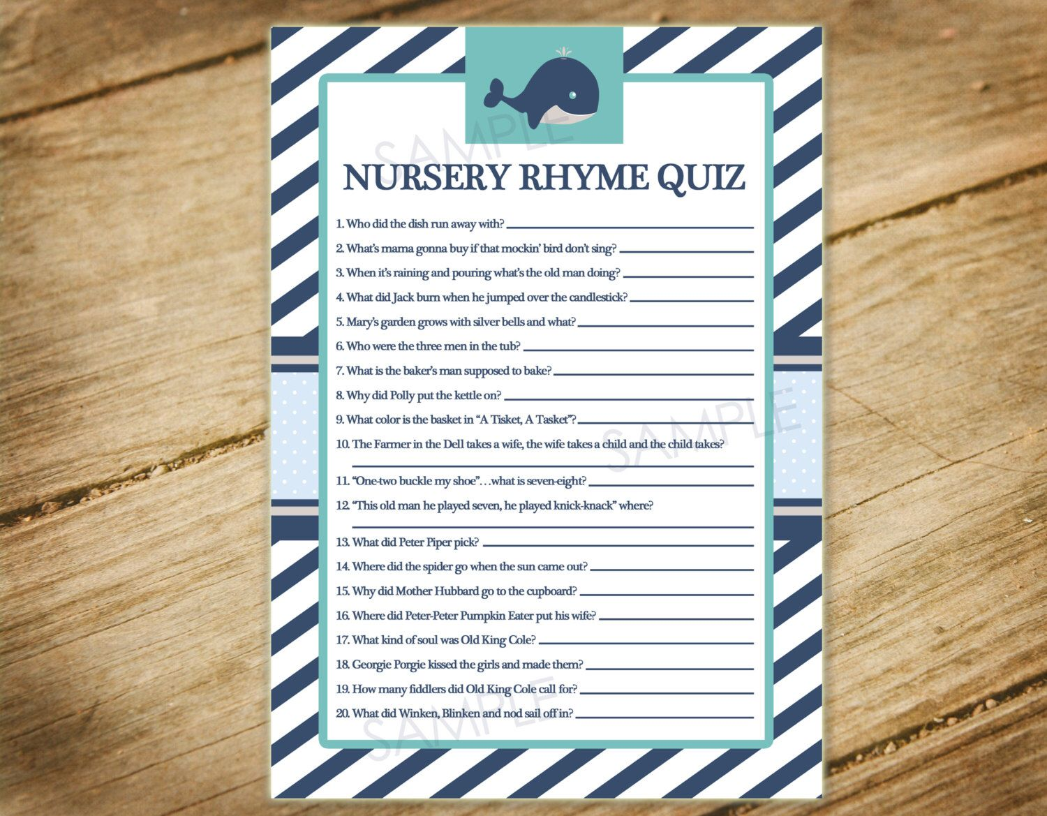Little Squirt / Whale / Nautical Theme Matching Baby Shower Game - Nursery Rhyme Quiz - Printable Instant Download by PocketfulOStationery on Etsy https://www.etsy.com/listing/225950863/little-squirt-whale-nautical-theme