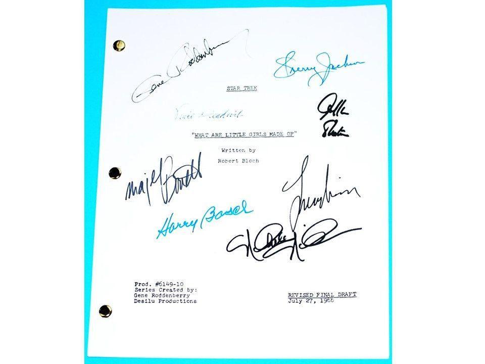 "Star Trek TOS 1966 signed Script ""What Little Girls are Made of"" Leonard Nimoy, Gene Roddenberry and William Shatner & more"