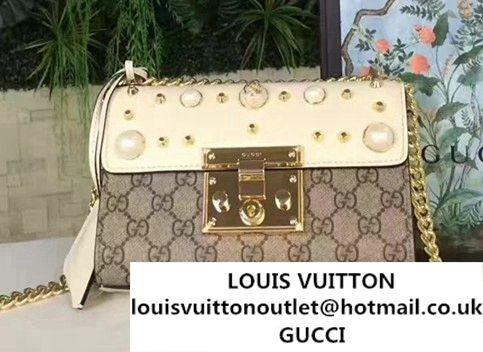 fb604297 Gucci Padlock Pearl Studded Detail GG Supreme Shoulder Bag 409487 2017