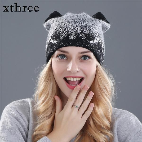 52c2e8cb3746a Xthree cute kitty winter hat for women Rabbit fur wool knitted hat beanies  hat feminino hat for girl