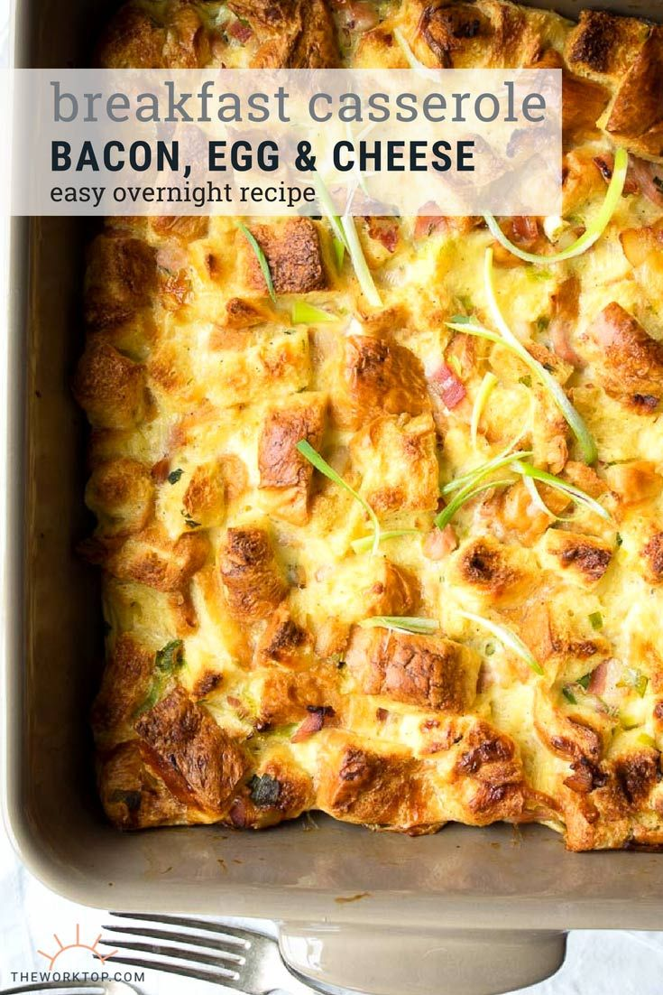 This overnight bacon breakfast casserole is sure to be a hit with a crowd! This make ahead breakfas