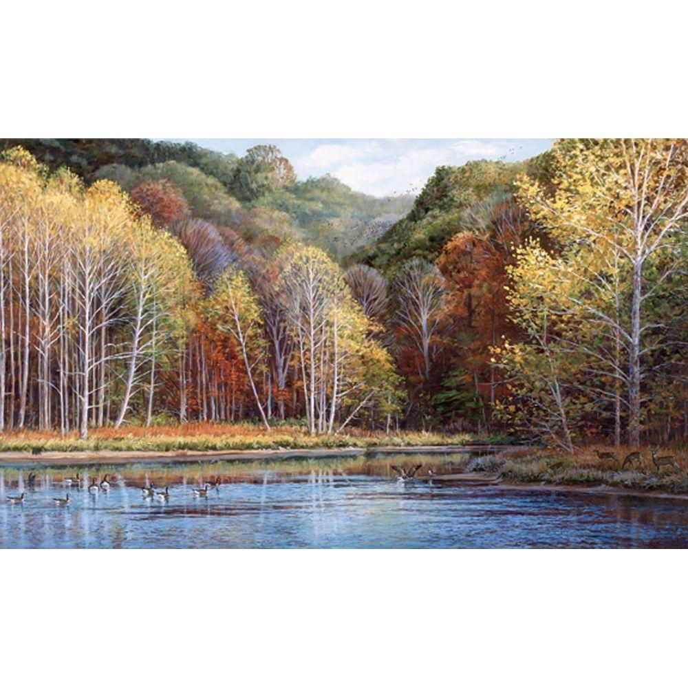 15 ft. x 9 ft. Peaceful Settings Wall Mural, Gold