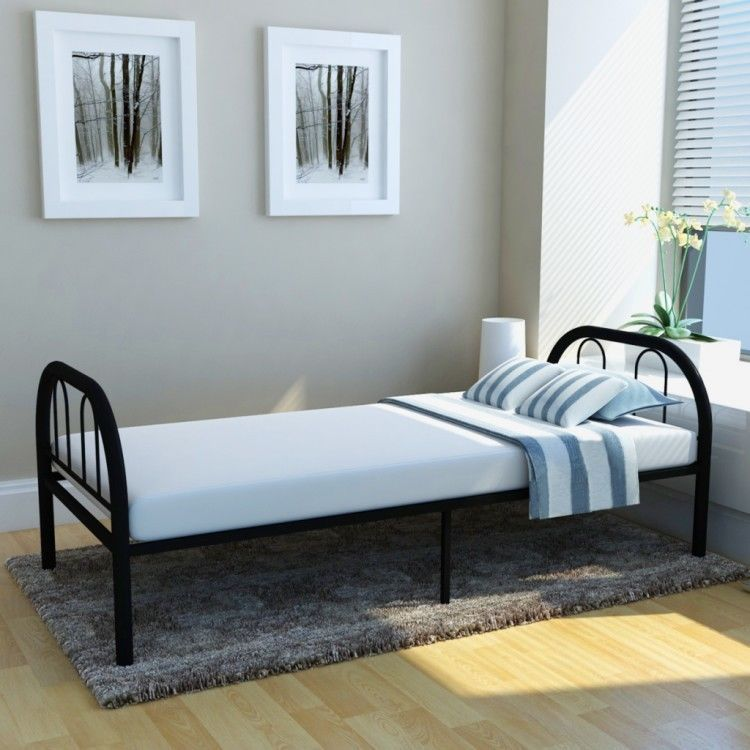 Single Metal Bed Frame Divan Guest Bed Foldable Kids Adults Bedroom ...