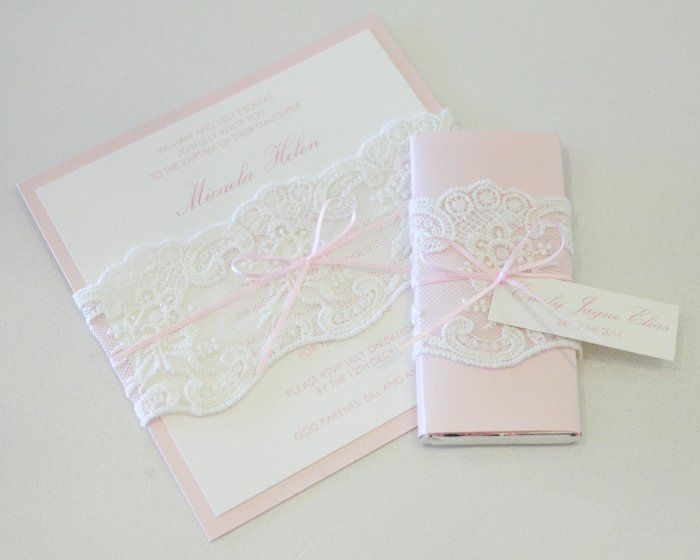 Pink White Lace Christening Invitation Invites Pinterest