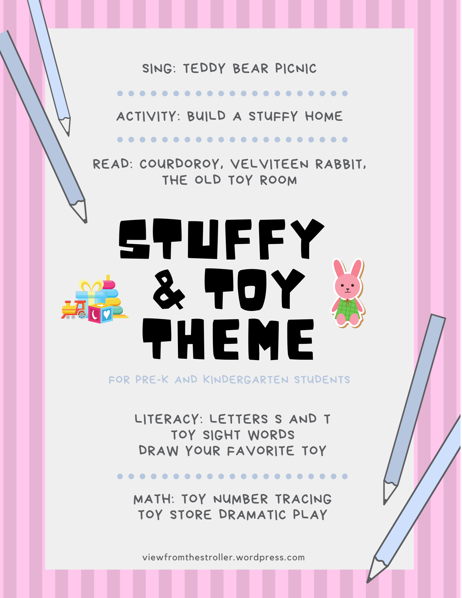 View From Homeschool Stuffies And Toys Theme Lesson For