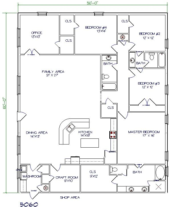 Barndo Floor Plan-5 bedroom 3000 sq ft | Metal Building House Plans