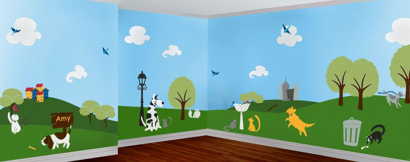 Wall Mural Stencils wall stencils, cats & dogs animal mural for baby room, 49 wall