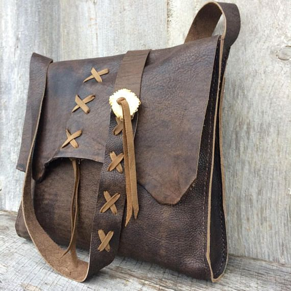 ca669ce57820 Leather Cross Body Bag in Distressed Brown - Handmade - All Leather - Deer  Antler Accents - Lacing - Rustic Style - by Stacy Leigh Handmade leather bag  that ...