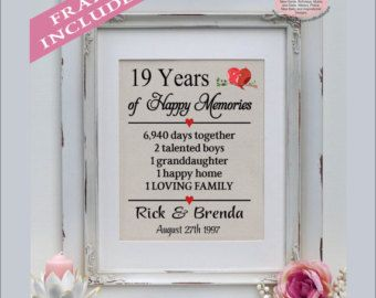 19th Wedding Anniversary 19 Years Married 19 Years Together Gift