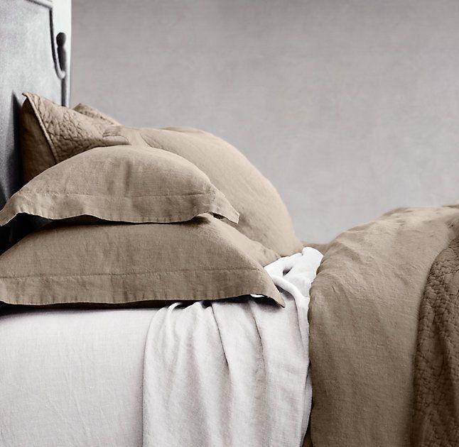 Stonewashed Belgian Linen Bedding Collection Restoration Hardware Prairie Color 299 Duvet Cover Sheet Set Guest Bedroom
