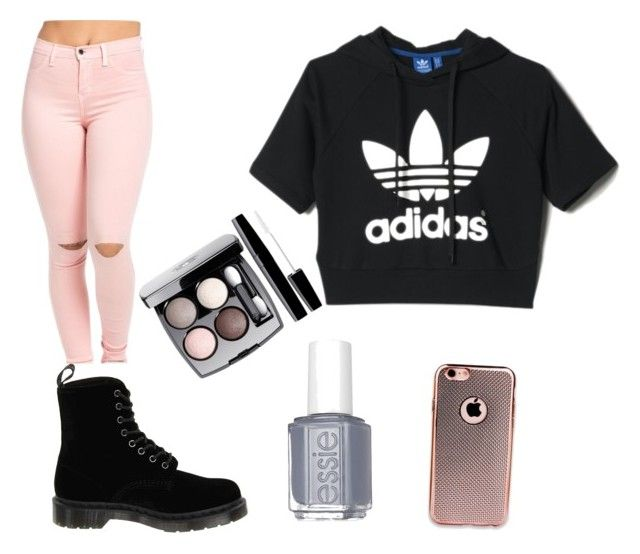 """Pink passion"" by huntingfashion711 ❤ liked on Polyvore featuring adidas, Dr. Martens, Essie and Chanel"