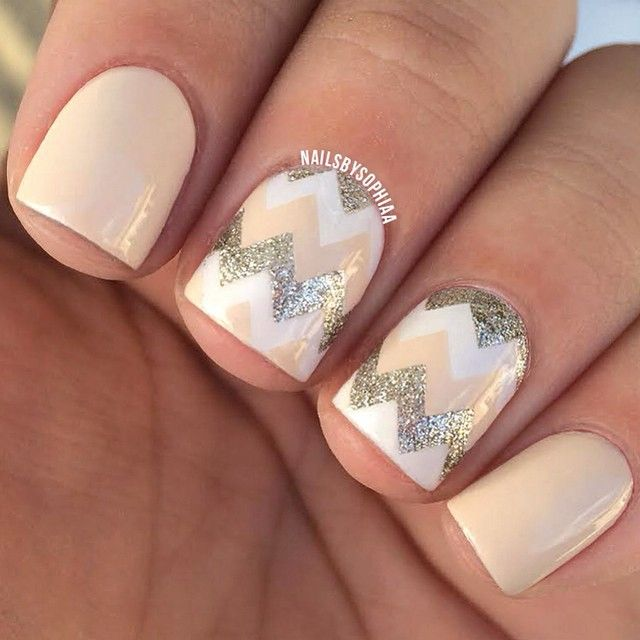 Nude white and gold glitter using miamihandjobs medium chevrons nude white and gold glitter using miamihandjobs medium chevrons neutral nail designsneutral prinsesfo Gallery