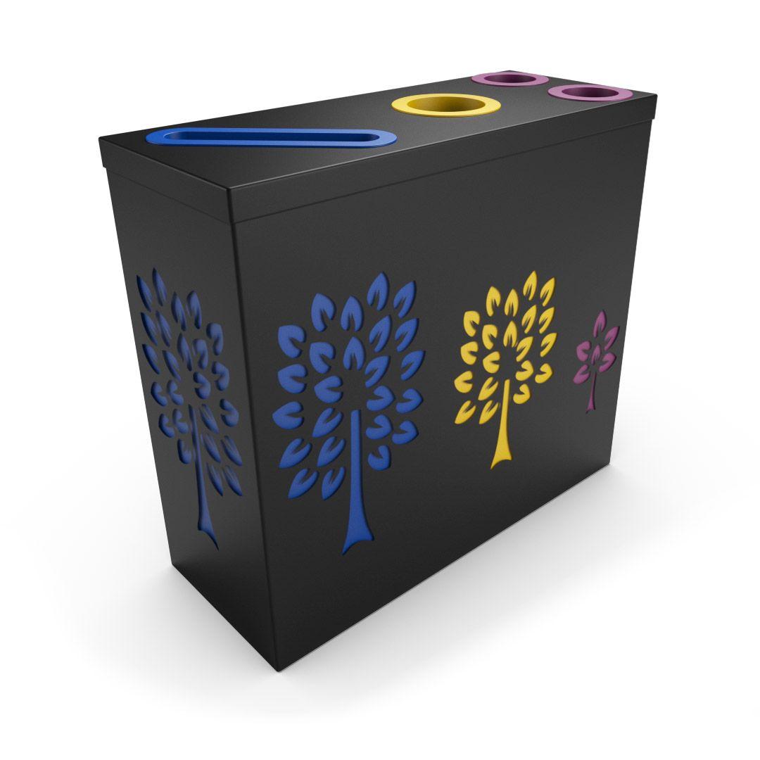 Pandora Tri Noir Poubelle De Tri Selectif 2 Compartiments