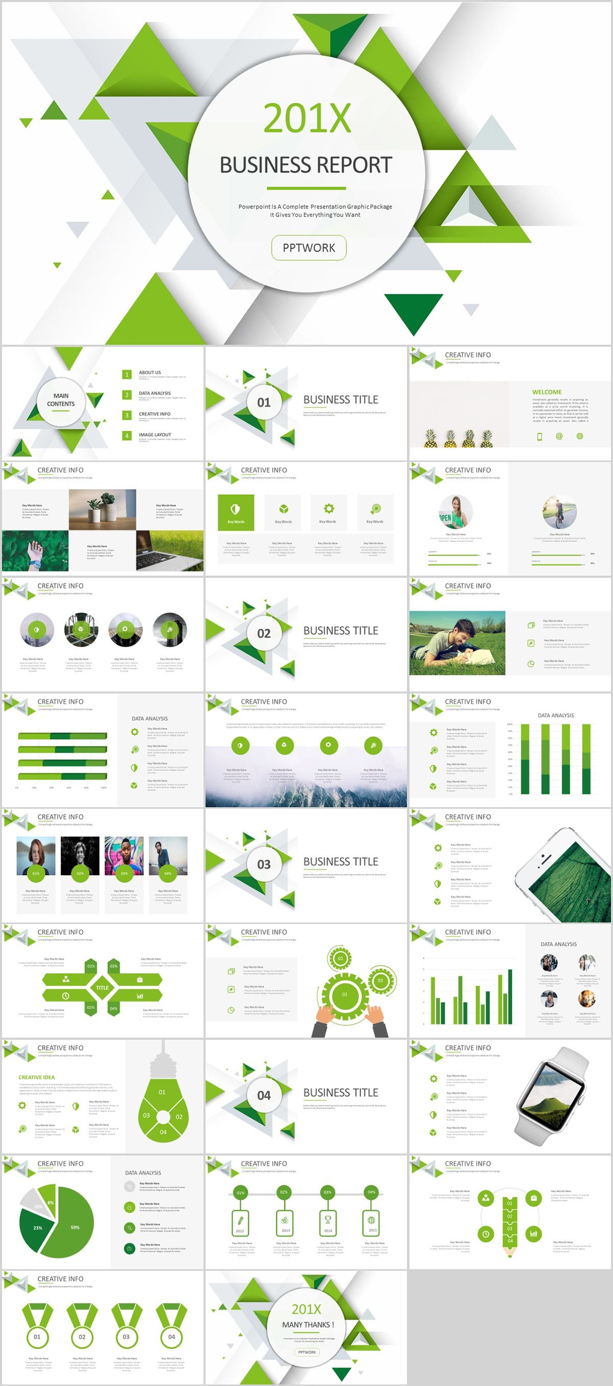 27 green business dynamic powerpoint presentations tem powerpoint
