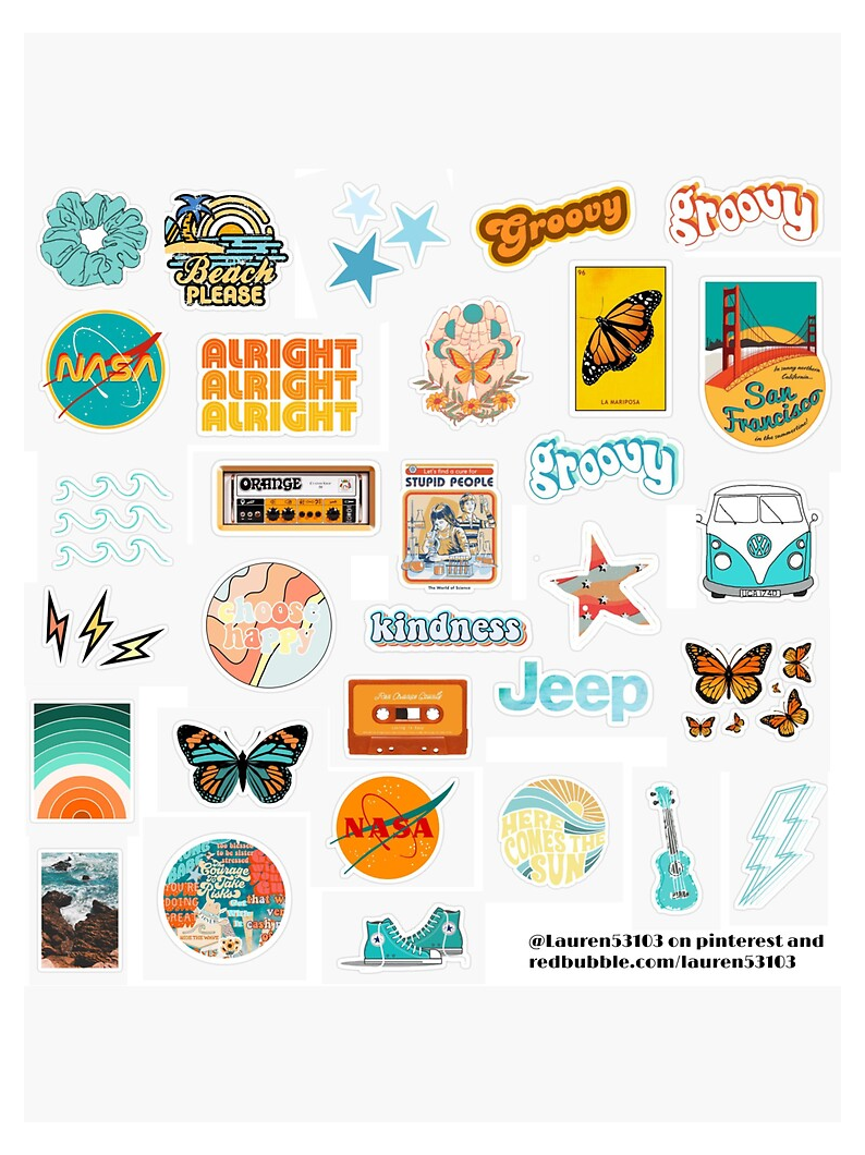Orange And Teal Stickers Sticker By Lauren53103 Laptop Stickers Aesthetic Retro Laptopstickersaesthe In 2021 Iphone Case Stickers Print Stickers Tumblr Stickers