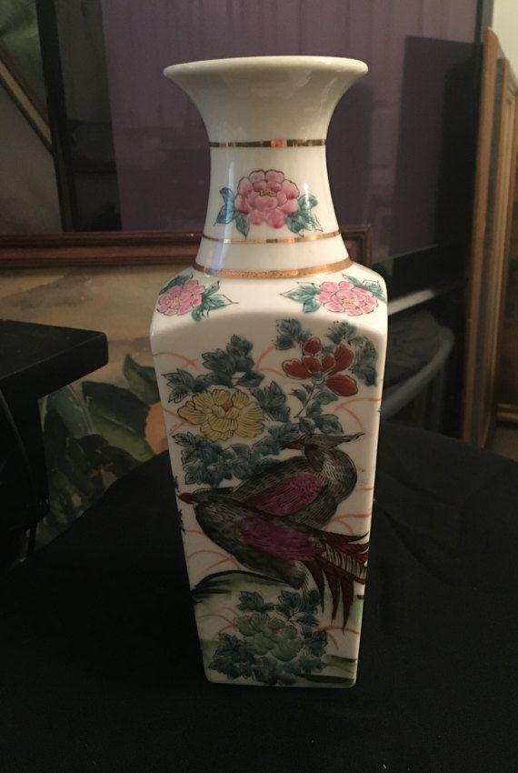 Vintage Japanese Hand Painted Vase Gold Rim Bird Of Paradise