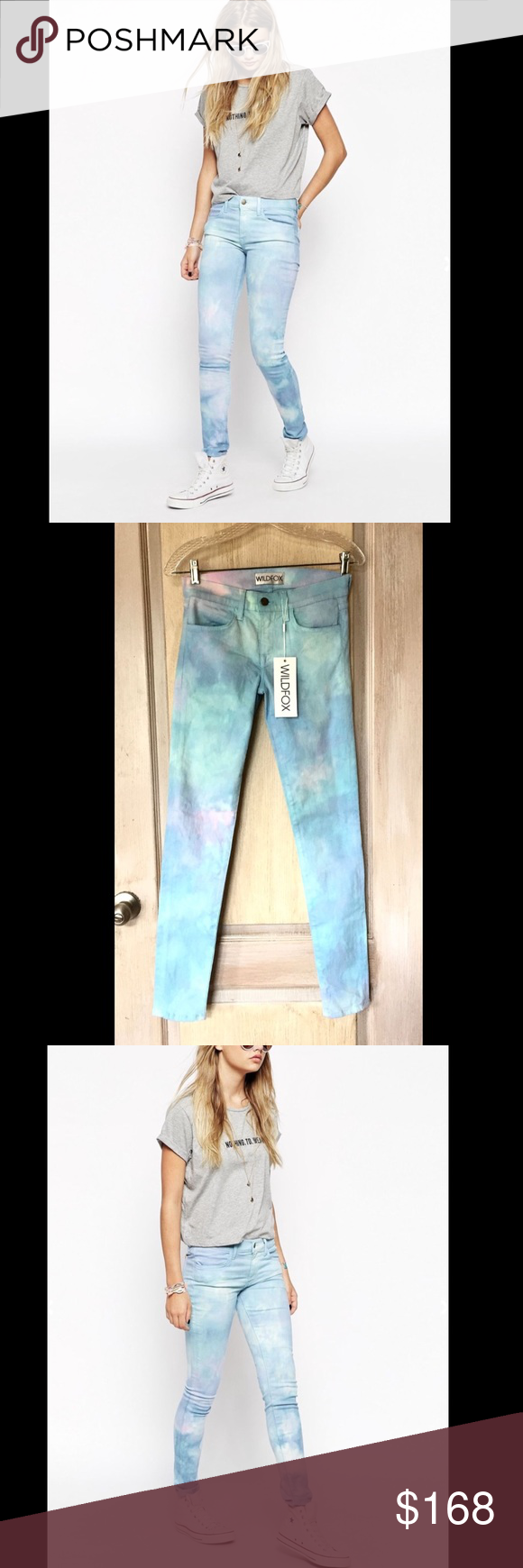 "WILDFOX blue aqua pink Stretch Skinny Jeans 25 WILDFOX blue aqua pink Tie Dye Low Rise Daydream Marianne Stretch Skinny Jeans classic contoured mid rise waistband for a perfect fit each pair is hand dyed ensuring that each pair is unique  4 pocket design with zipper & button closure skinny tapered leg for longer leaner look  New With Tags  *  Size:  25 retail price:  $192.00  91.5% cotton * 6% polyester * 2.5% spandex machine wash cold Made in the USA  measures: 27"" around waist relaxed 8""…"