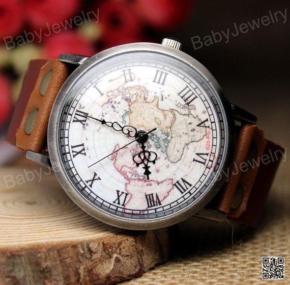Mens World Maps Watches Vintage wristwatch Retro Travelling Maps Unisex Women Leather Wrist watch Handmade Watches on Etsy, CHF11.52