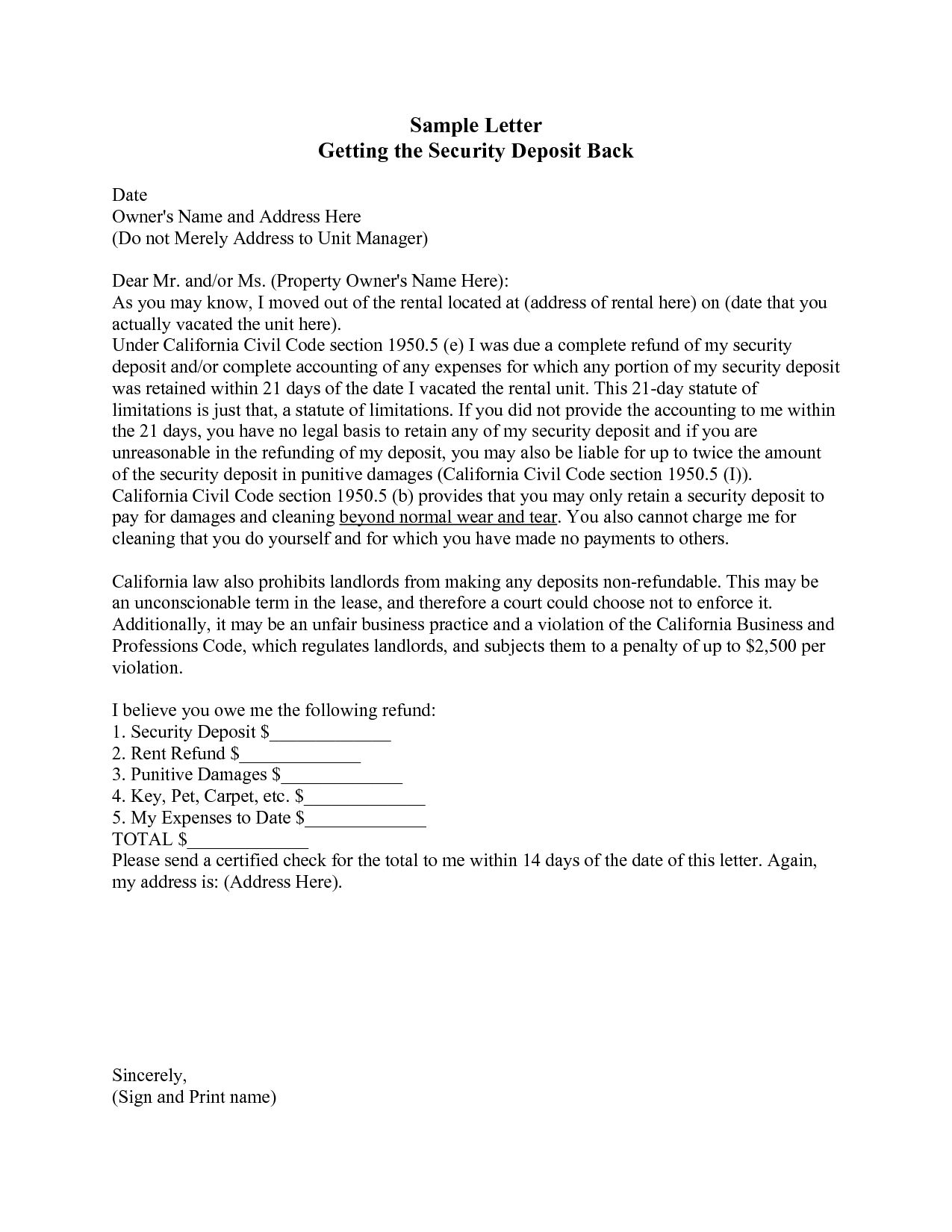 Free Security Deposit Refund Letter Template Adjustment Format