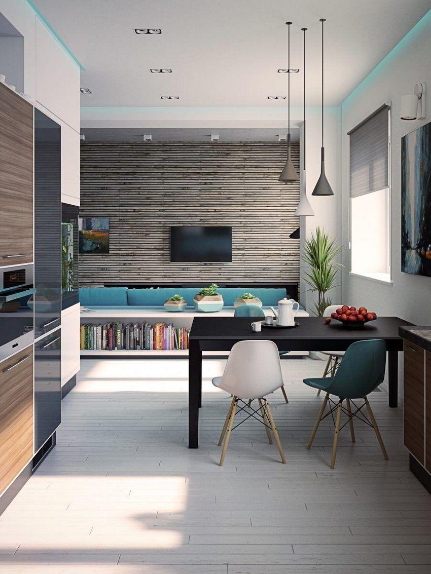 Modern konyha, kék, fehér, fa, szürke és fekete színek ...