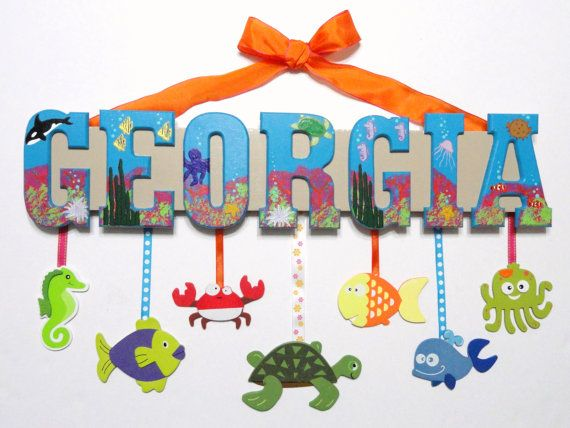 Ocean Animals Name Sign 5 Letters Custom Hand by SarasHandmades