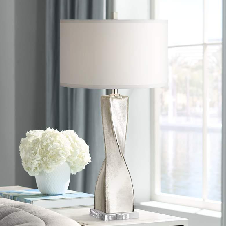 Oirin Silver Twist Crackle Mercury Glass Table Lamp 68r18 Lamps Plus Mercury Glass Table Lamp Glass Table Lamp Table Lamp