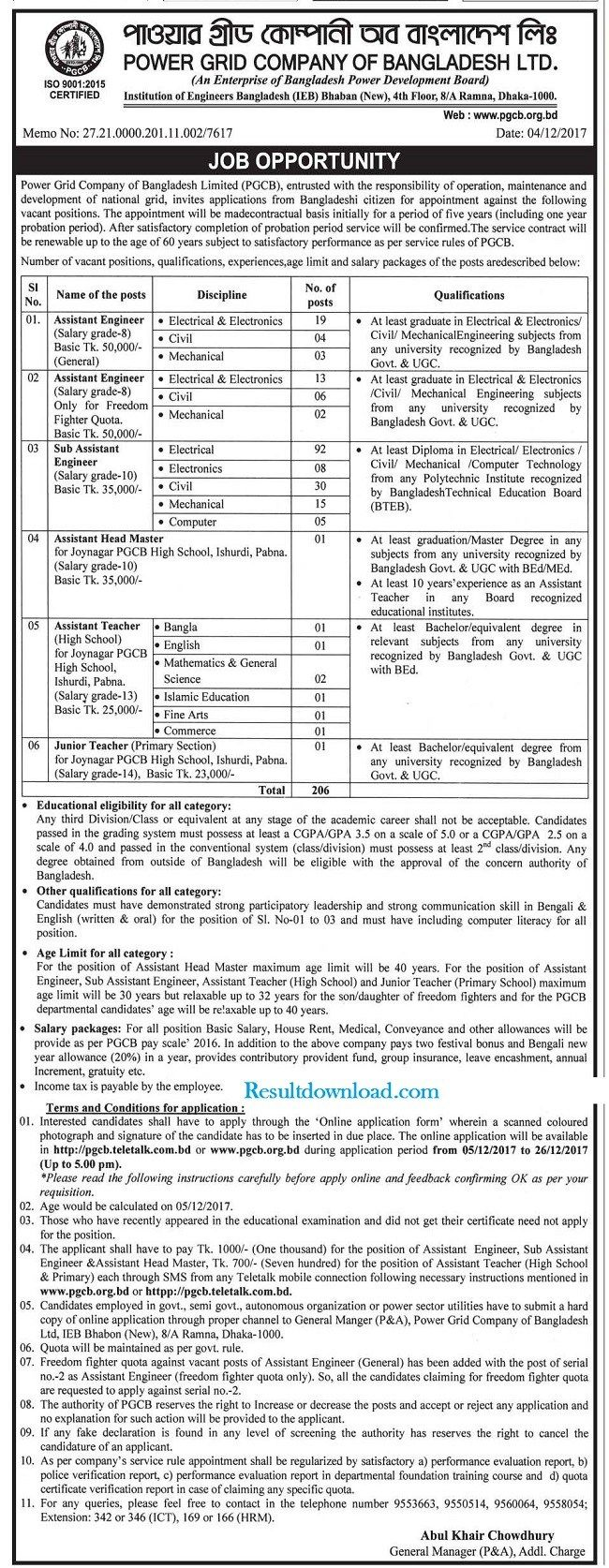Power Grid Company Bangladesh Job Circular  PgcbTeletalkComBd