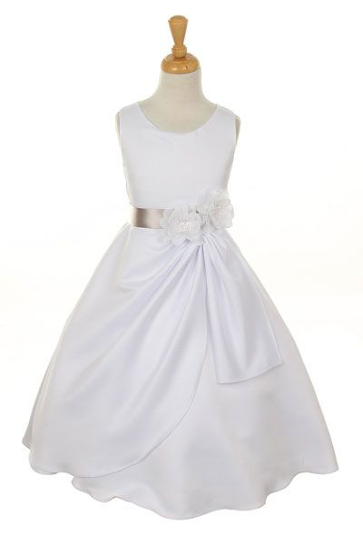 Girls Dress Style 1165- Choice of White or Ivory Dress with Silver  Ribbon and Flower  Sleeveless bridal matte satin dress.  This dress is bridal quality and is made well and does not look like the cheap poly junk dresses that you see all over the market.  http://www.flowergirldressforless.com/mm5/merchant.mvc?Screen=PROD&Product_Code=CC_1165SV&Store_Code=Flower-Girl&Category_Code=Silver_Grays