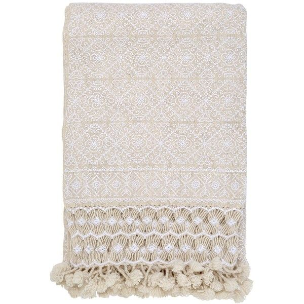 Aniza Home Nah Hand-embroidered Wool Throw (2,590 ILS) ❤ liked on Polyvore featuring home, bed & bath, bedding, blankets, wool throw, mexican blankets, mexican embroidered bedding, mexican wool blankets and embroidered throw blanket