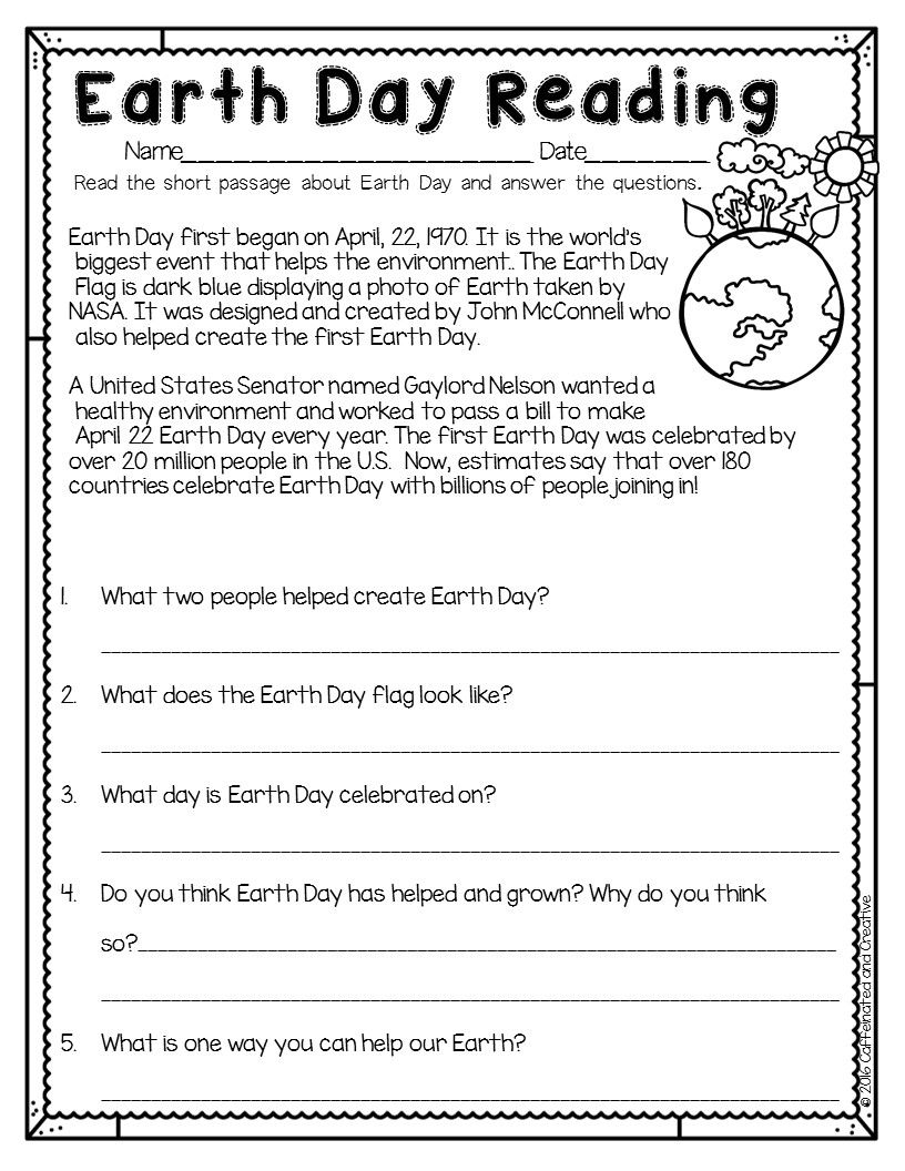 Spring Into Spring Earth Day Worksheets Reading Comprehension Worksheets Earth Day