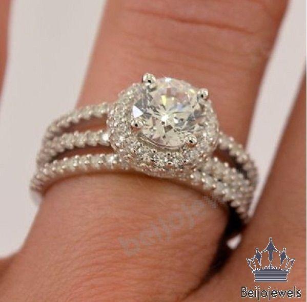 14k White Gold Over Round Diamond Wedding Engagement 3 Piece