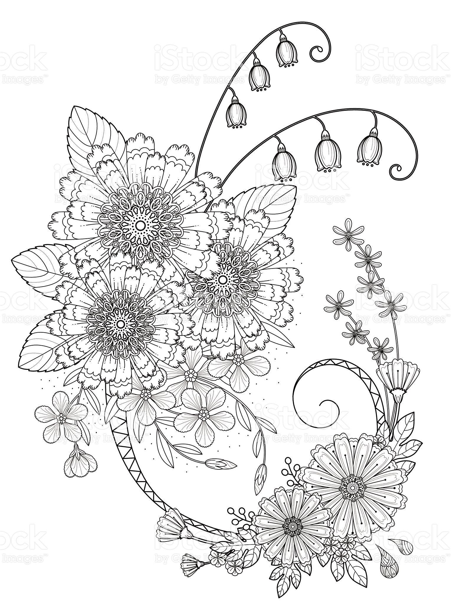 romantic floral coloring page in exquisite line | Flores y frutas 06 ...